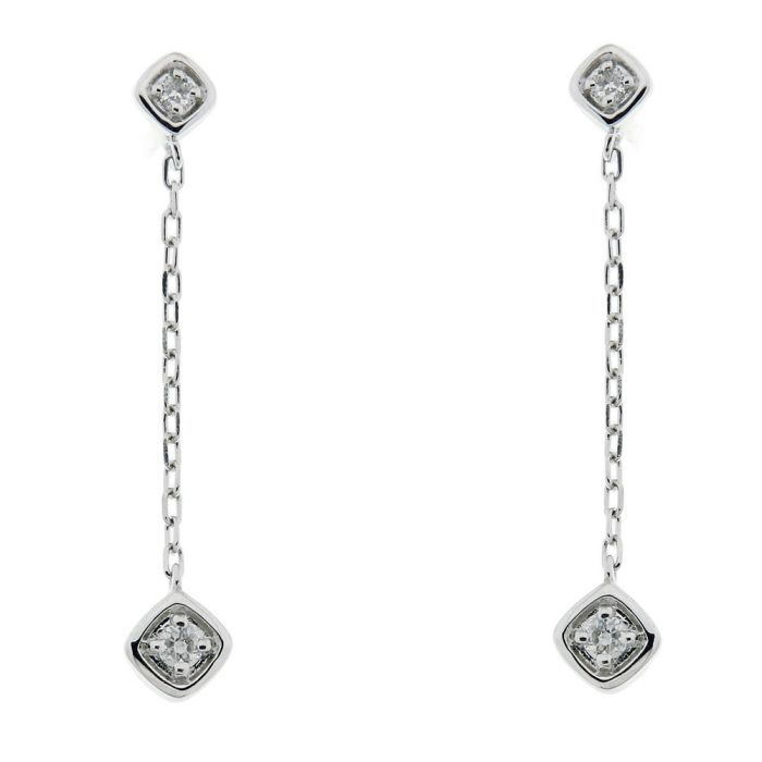 boucles d 39 oreilles pendantes or blanc 750 diamant ref 39252. Black Bedroom Furniture Sets. Home Design Ideas