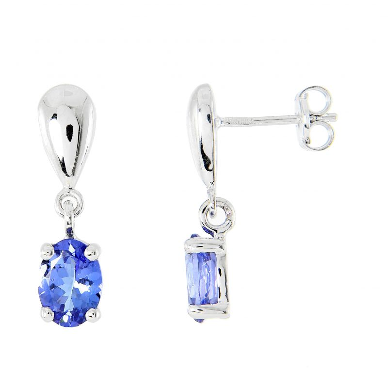 boucles d 39 oreilles pendantes or blanc 750 tanzanite ovale 7x5mm ref 43633. Black Bedroom Furniture Sets. Home Design Ideas