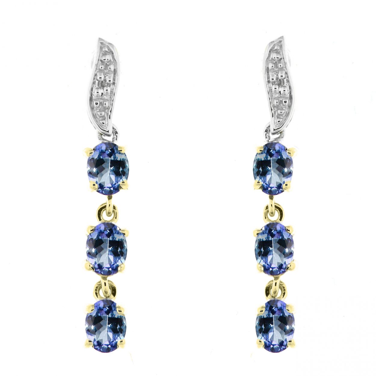 0c8efda4879 Boucles d oreilles Pendantes Or Jaune 375 Tanzanite et Diamant Ref ...