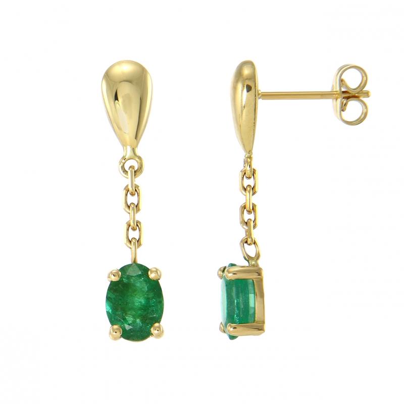 boucles d 39 oreilles pendantes or jaune 750 emeraude ref 37660. Black Bedroom Furniture Sets. Home Design Ideas