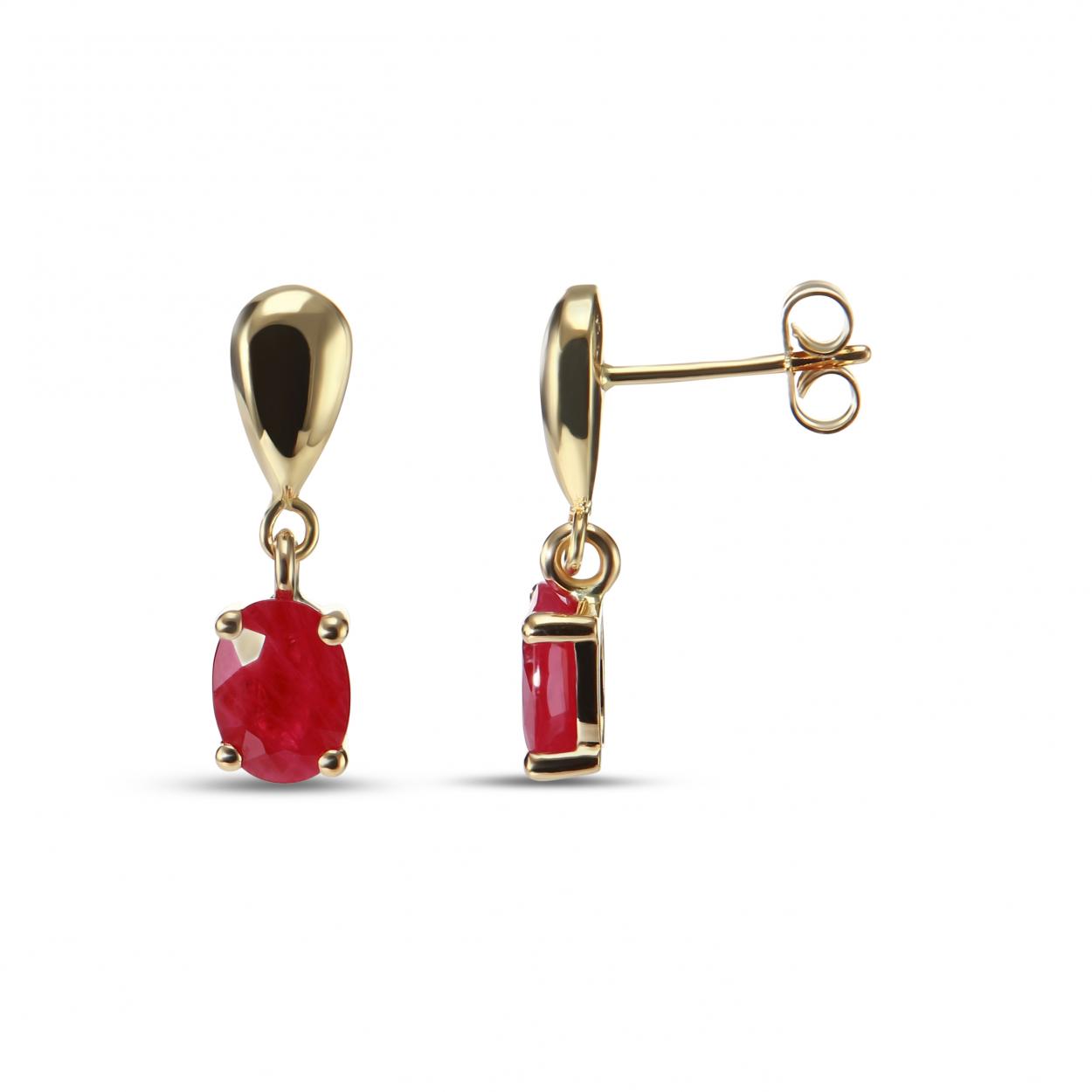 boucles d'oreilles pendantes or et rubis