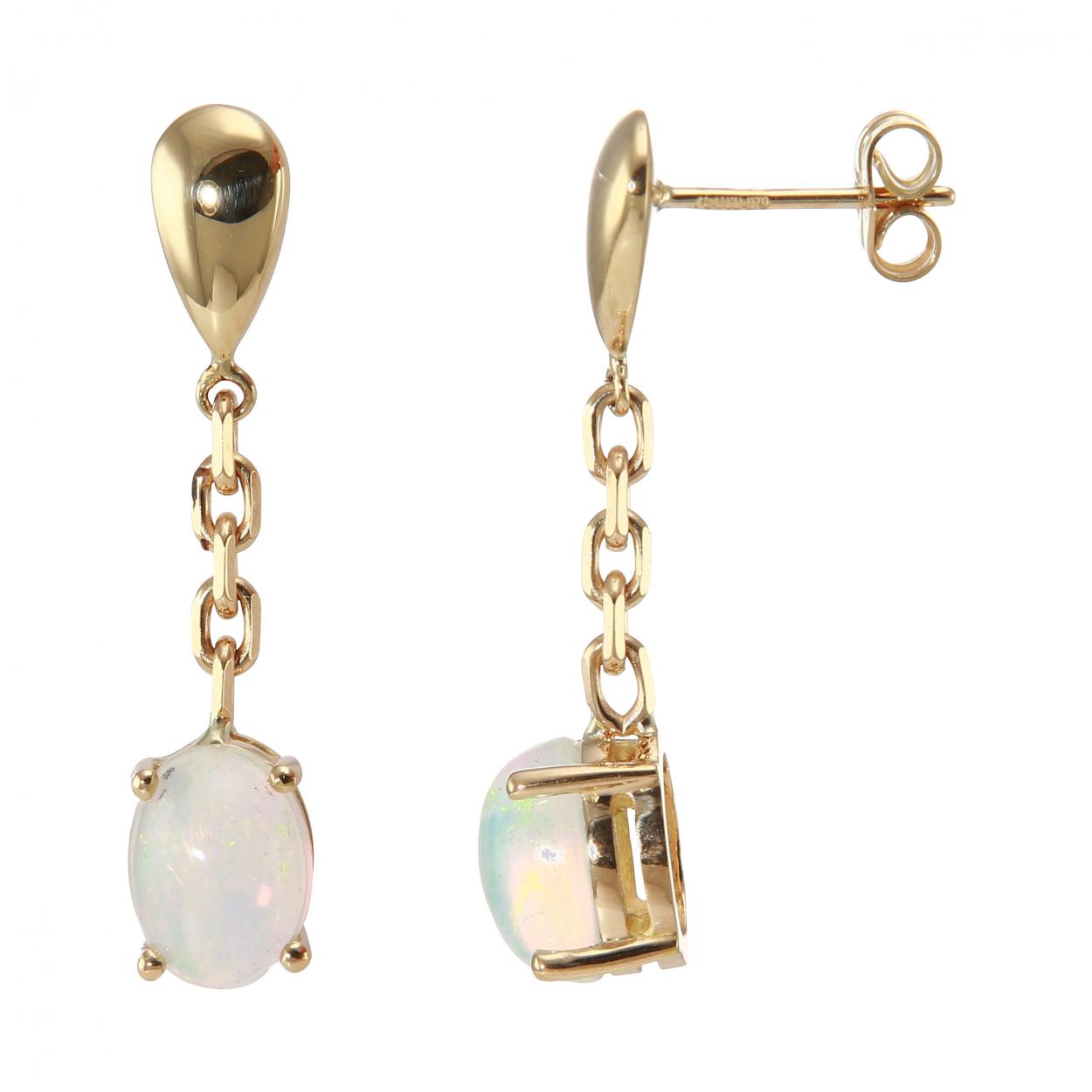 boucles d 39 oreilles pendantes or jaune opales ovales 8x6mm ref 32397. Black Bedroom Furniture Sets. Home Design Ideas