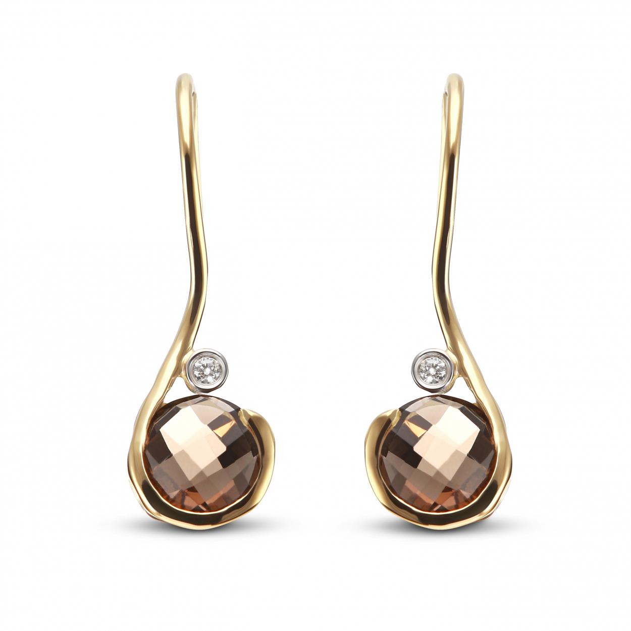 boucles d 39 oreilles pendantes or jaune quartz fum 6mm et diamant ref 37190. Black Bedroom Furniture Sets. Home Design Ideas