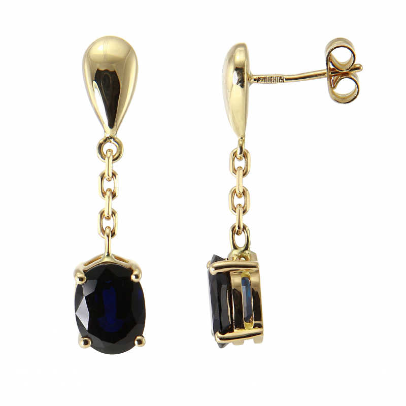boucles d 39 oreilles pendantes or jaune saphir ovale 8x6mm. Black Bedroom Furniture Sets. Home Design Ideas
