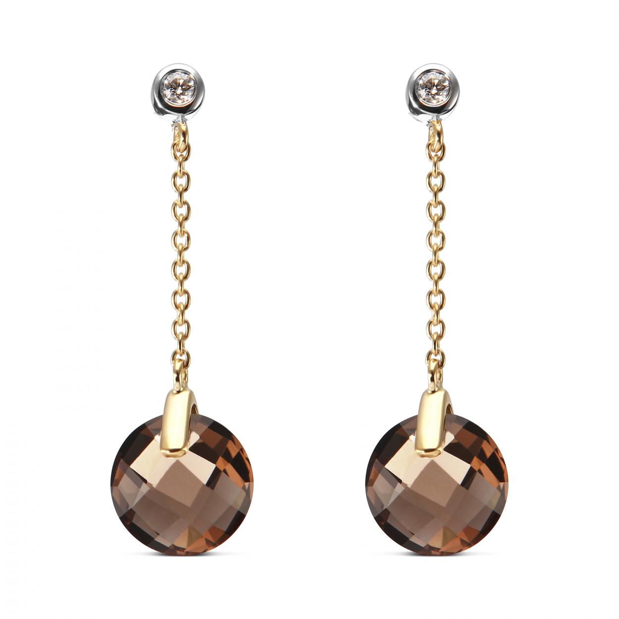 Boucles d 39 oreilles pendantes quartz fum or jaune 750 ref 34964 - Grosses boucles d oreilles pendantes ...