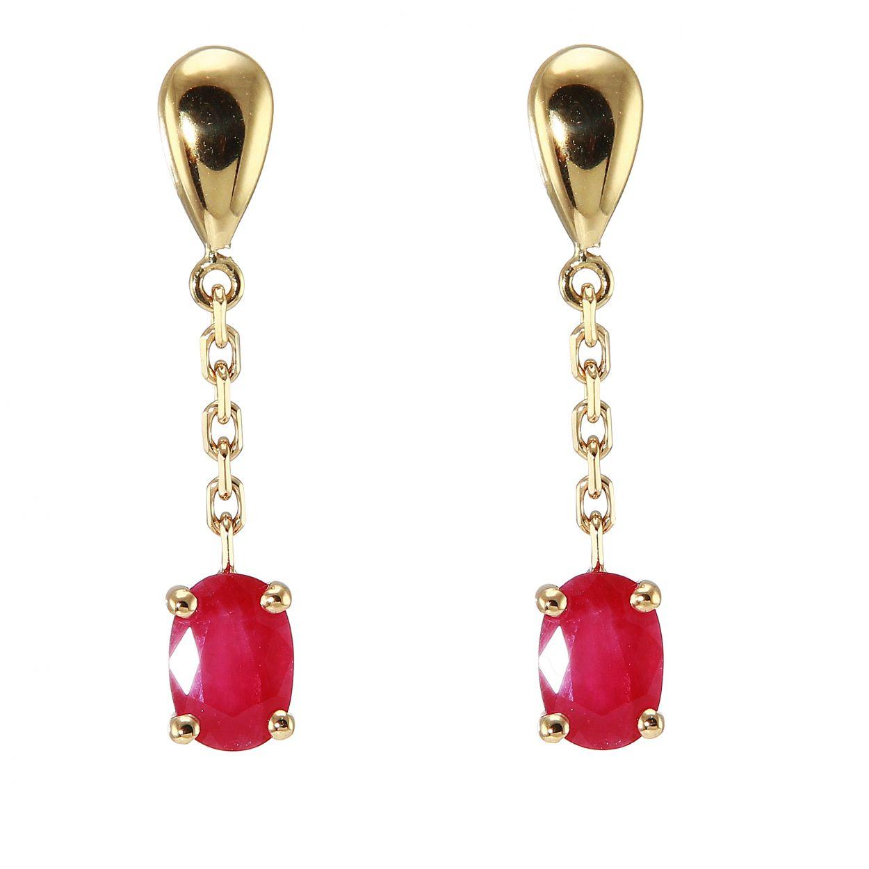 boucles d 39 oreilles pendantes rubis or jaune 750 ref 41044. Black Bedroom Furniture Sets. Home Design Ideas