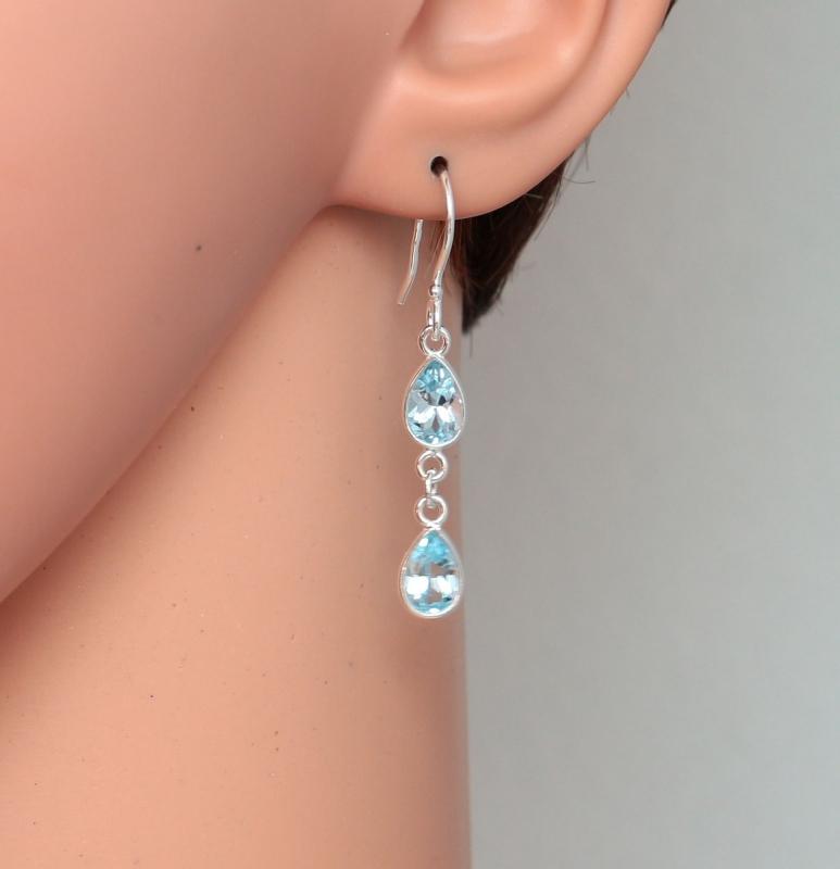 boucles d'oreilles pendantes bleues