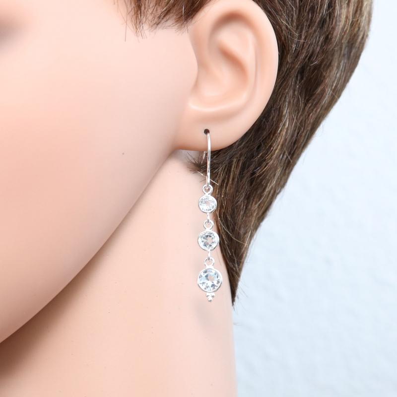 boucles d 39 oreilles pendantes topaze bleue trait e ref 32126. Black Bedroom Furniture Sets. Home Design Ideas