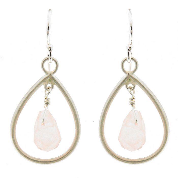 boucles d 39 oreilles poires argent 925 satin et quartz rose. Black Bedroom Furniture Sets. Home Design Ideas