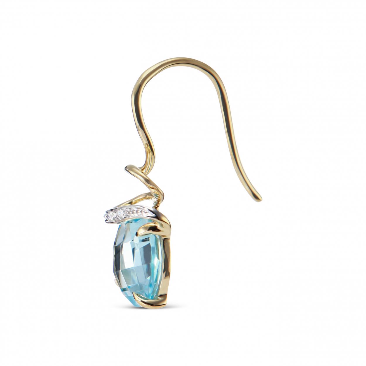 boucles d 39 oreilles topaze bleue trait e et diamant or. Black Bedroom Furniture Sets. Home Design Ideas