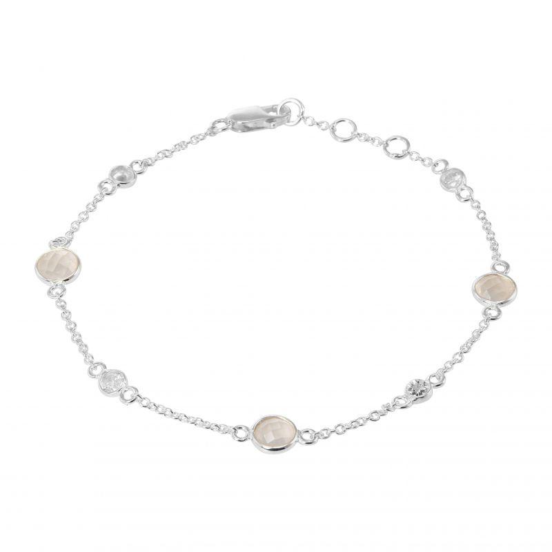 a415d5b3e5 Bracelet Argent 925 Quartz Rose et Oxyde de zirconium Ref. 32357