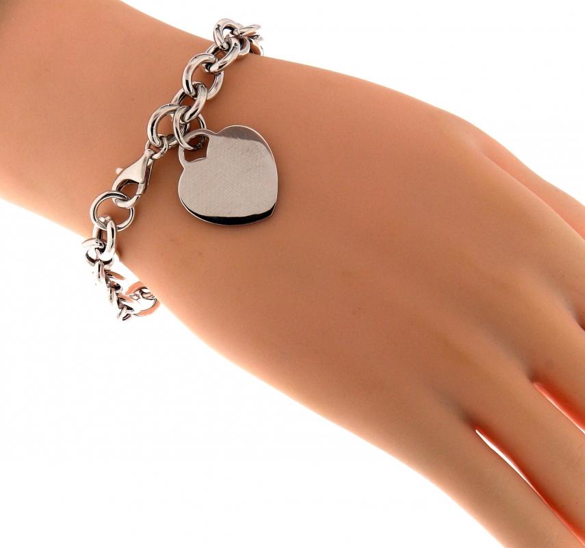 bracelet argent maille ovale et coeur graver ref 42771. Black Bedroom Furniture Sets. Home Design Ideas