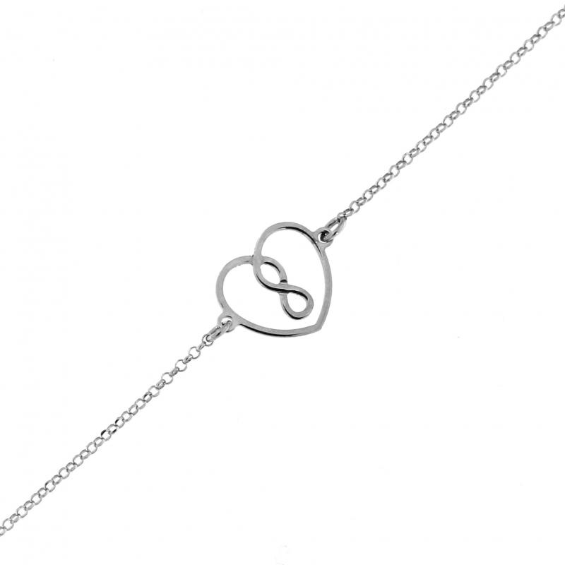 bracelet argent motif coeur et signe infini ref 44143. Black Bedroom Furniture Sets. Home Design Ideas