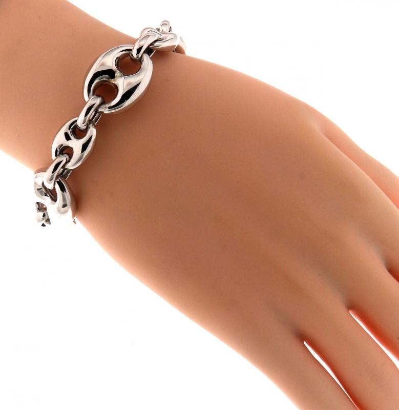 Bracelet argent rhodi maille grains de caf 12 17mm x - Gourmette graine de cafe argent ...