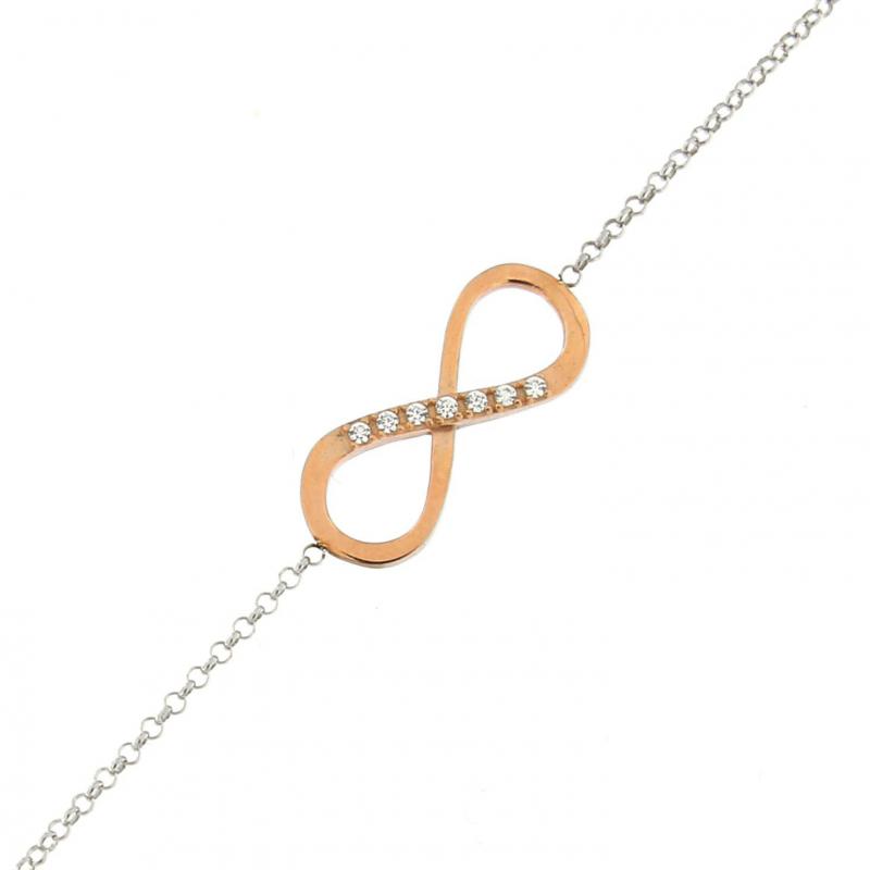bracelet argent rhodi motif signe infini couleur or rose et oxydes de zirconium ref 43818. Black Bedroom Furniture Sets. Home Design Ideas