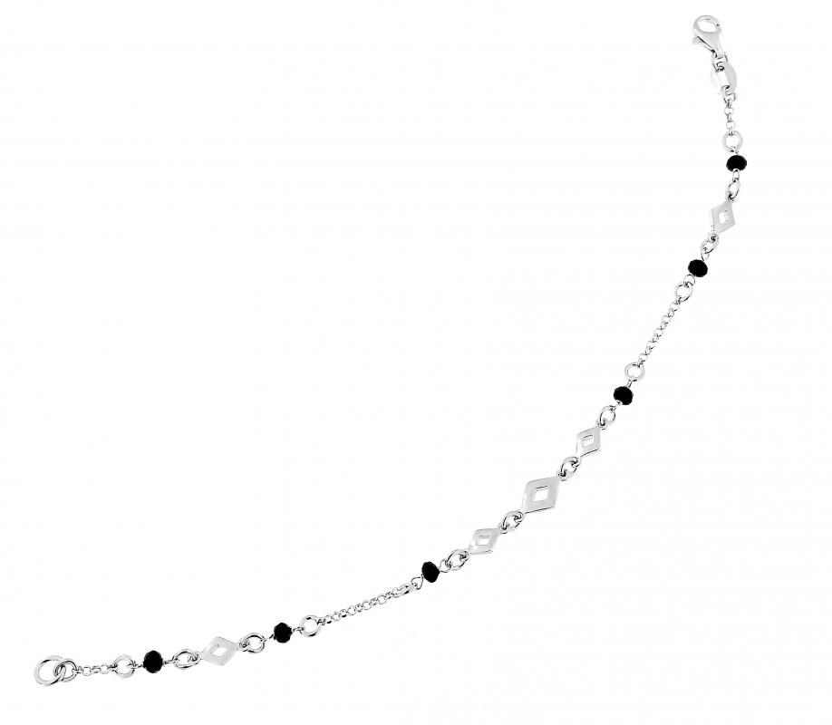 62e6d6bcdef Bracelet argent rhodié motifs losanges et perles noires à facettes ...