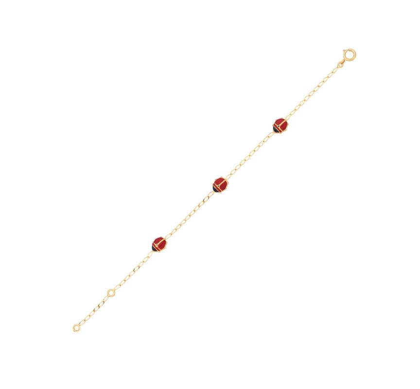 bien détails pour doux et léger Bracelet enfant Or Jaune et Coccinelles Ref. 27403 | Bijouterie Trabbia  Vuillermoz