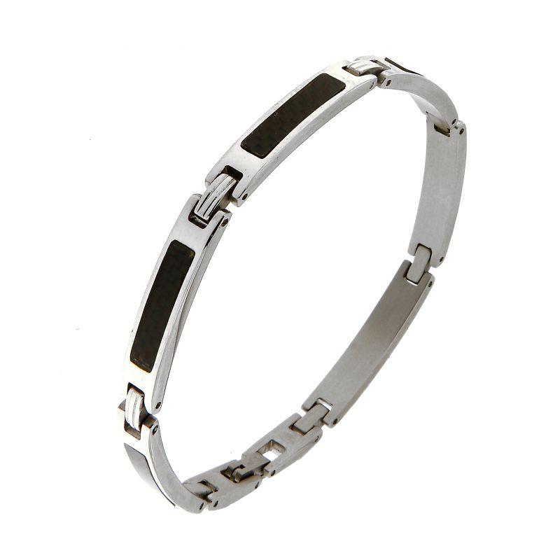 bracelet homme acier gris et noir ref 45651. Black Bedroom Furniture Sets. Home Design Ideas