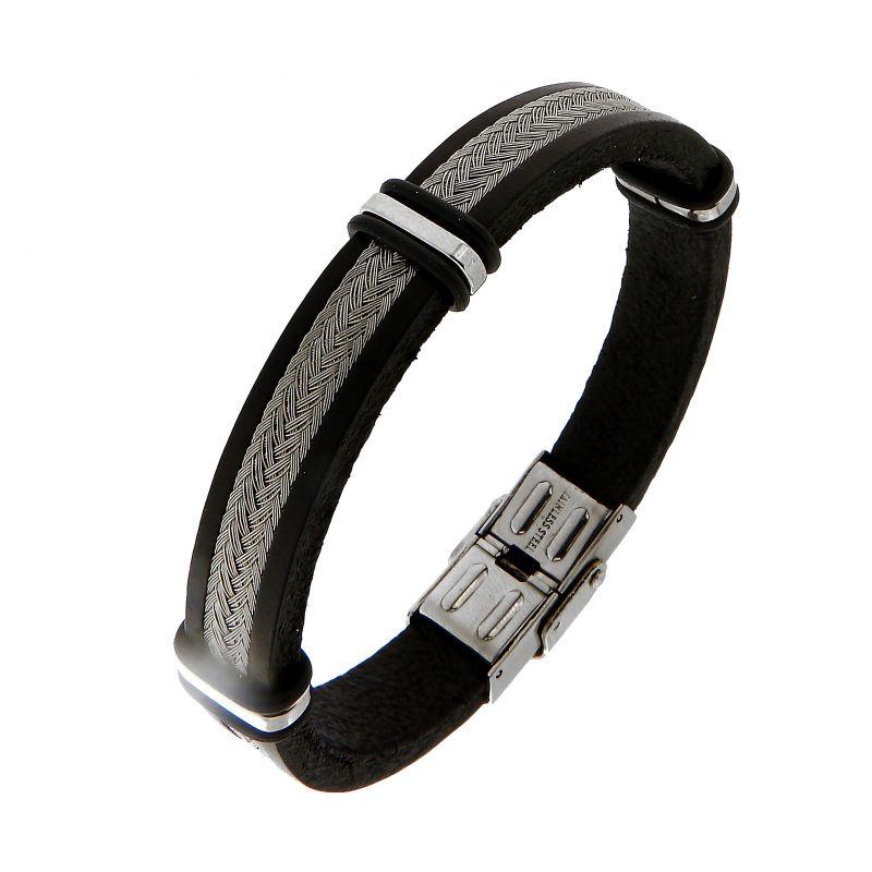 803c8f84755 Bracelet homme cuir noir et fils d acier tréssés Ref. 45633