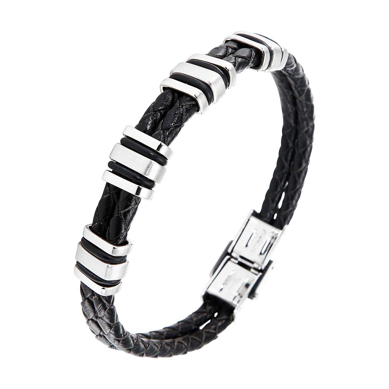 magasin en ligne 1dea4 a592f Bracelet homme cuir noir tressé, acier et caoutchouc 1,1x21 Ref. 47354 |  Bijouterie Trabbia Vuillermoz
