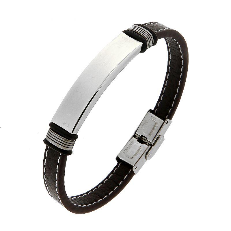 bracelet homme en cuir marron avec plaque en acier ref 45648. Black Bedroom Furniture Sets. Home Design Ideas