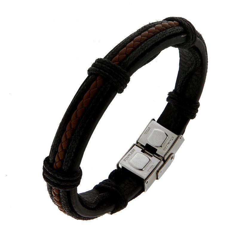 Bracelet homme noir et marron