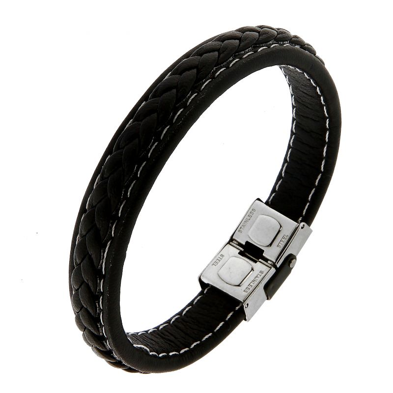 get online another chance quality design Bracelet homme en cuir noir lisse et tréssé Ref. 45645 | Bijouterie Trabbia  Vuillermoz