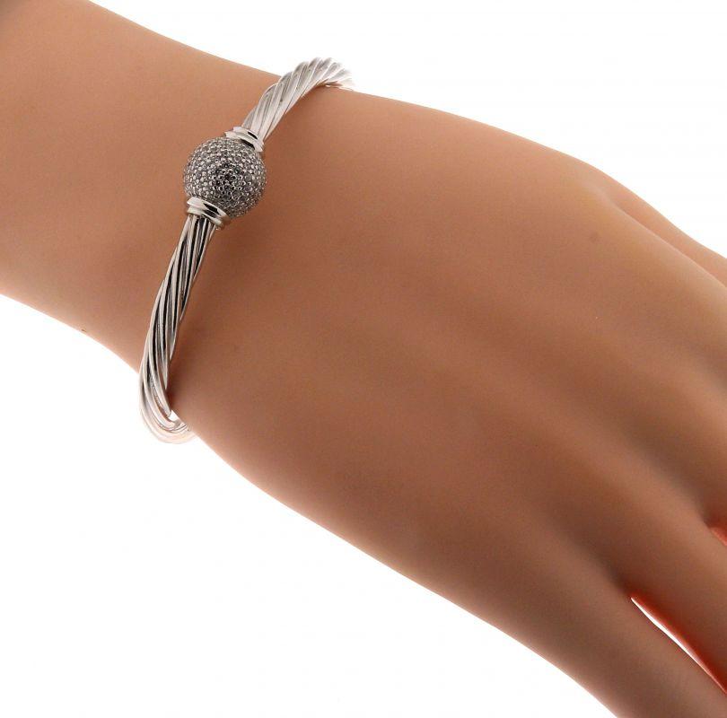 ac99d19ac6d54 Bracelet Jonc en Argent 925 Rhodié et Oxyde de zirconium Ref. 41939