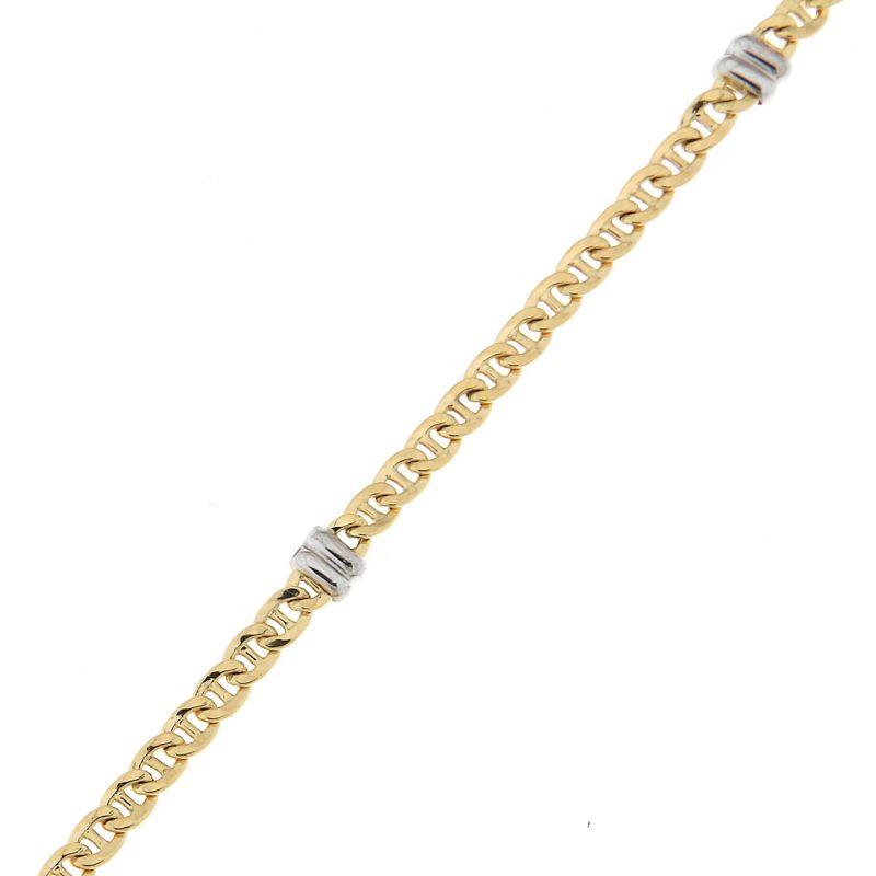 bracelet maille marine en or blanc et or jaune 750 3mm x. Black Bedroom Furniture Sets. Home Design Ideas