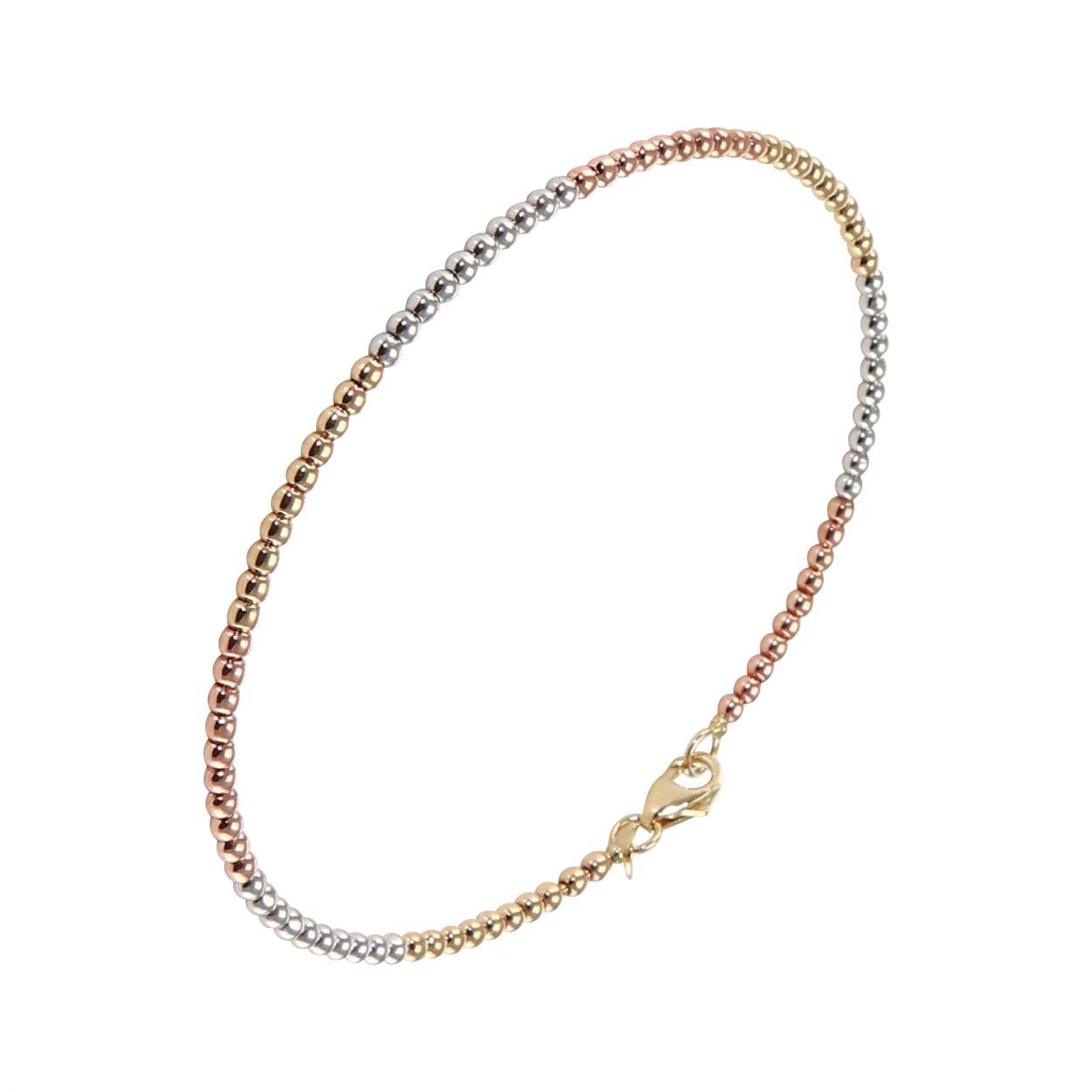 Bracelet perles rondes 3 ors