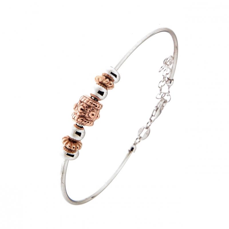 bracelet rigide en argent rhodi avec charms ref 42863. Black Bedroom Furniture Sets. Home Design Ideas