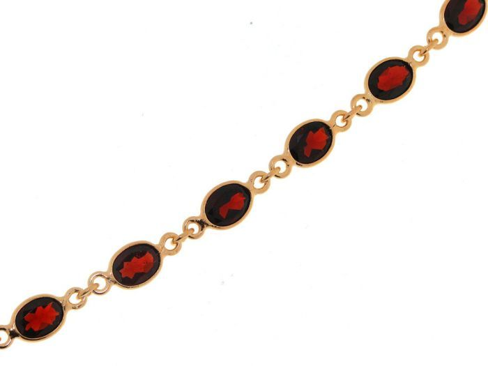 Bracelet Vermeil Grenat Ovale 8x6mm