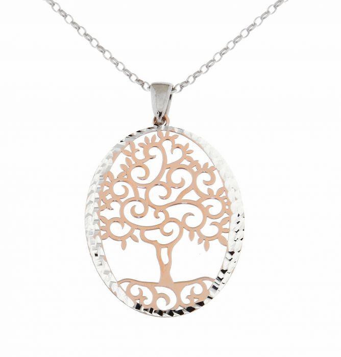 collier arbre de vie argent 925 rhodi et argent plaqu or rose ref 40631. Black Bedroom Furniture Sets. Home Design Ideas