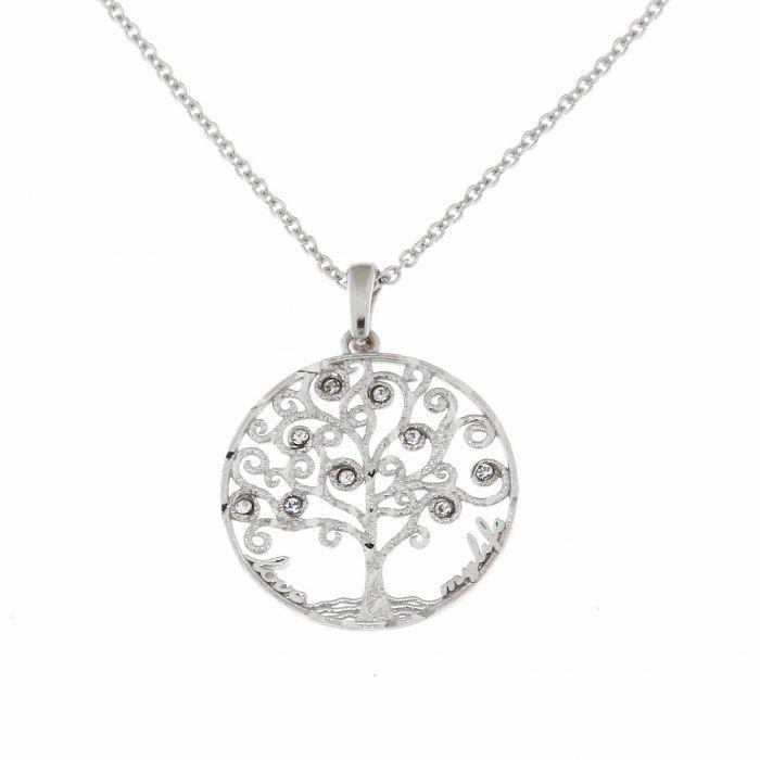 Collier argent 925 rhodi arbre de vie et strass ref 40639 - Arbre a collier ...