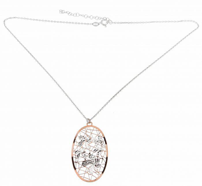 Collier Argent 925 Rhodie Et Rose Motifs Fleurs Ref 40884
