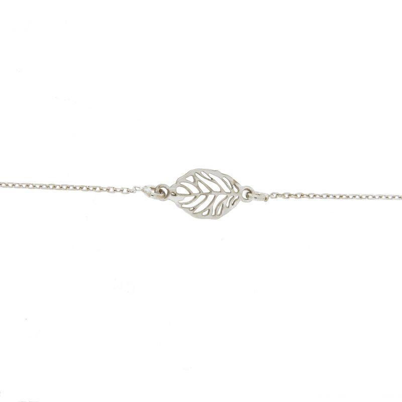 collier argent femme feuilles
