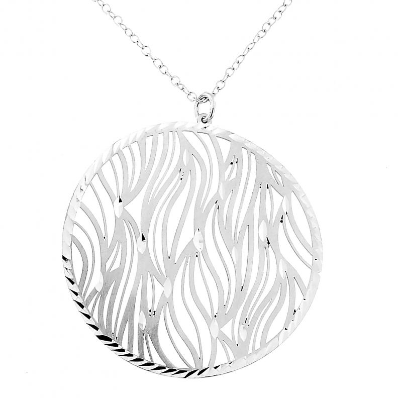 725892202f82 Ref   45447. Collier en argent rhodié avec motif rond ajouré de vagues