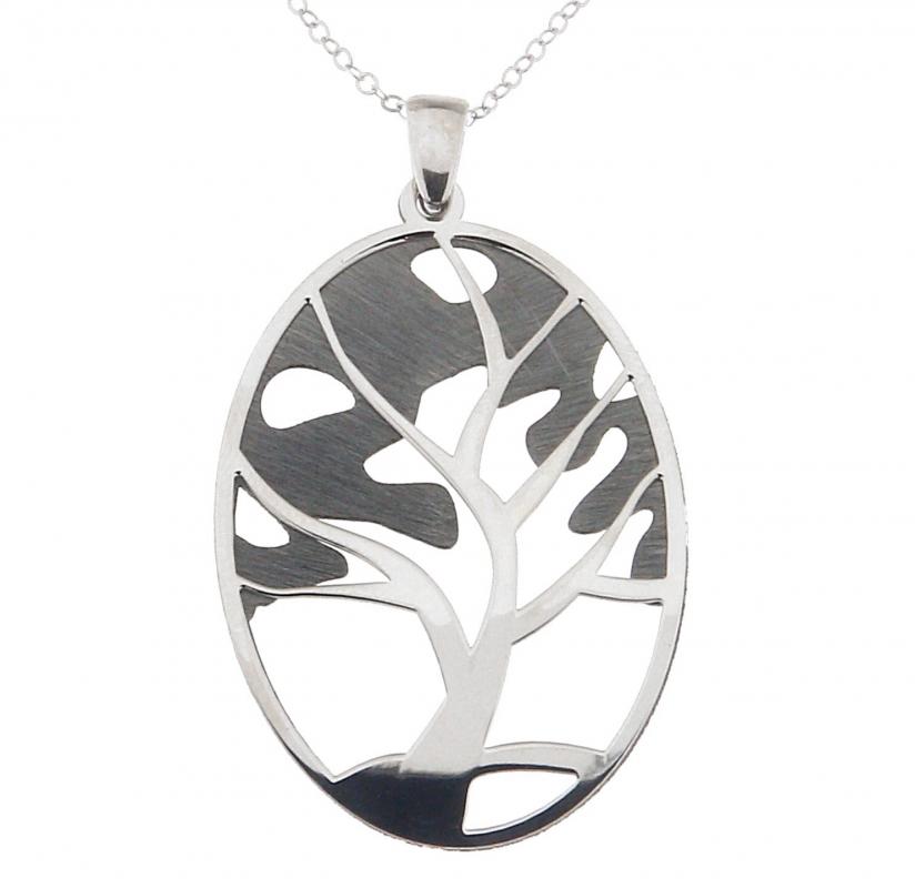 collier motif arbre de vie ovale en argent 925 rhodi 2 tons ref 41834. Black Bedroom Furniture Sets. Home Design Ideas