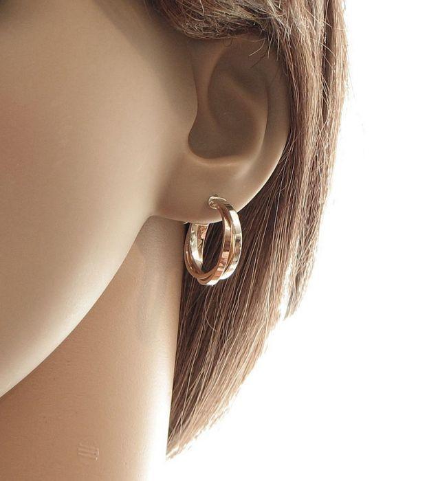 Cr oles anneaux entrelac s 3 ors 375 ref 40412 - Bijoux 3 fois sans frais ...