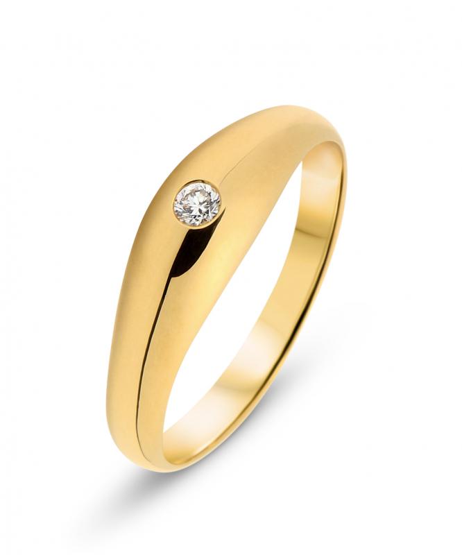 bague homme or jaune diamant