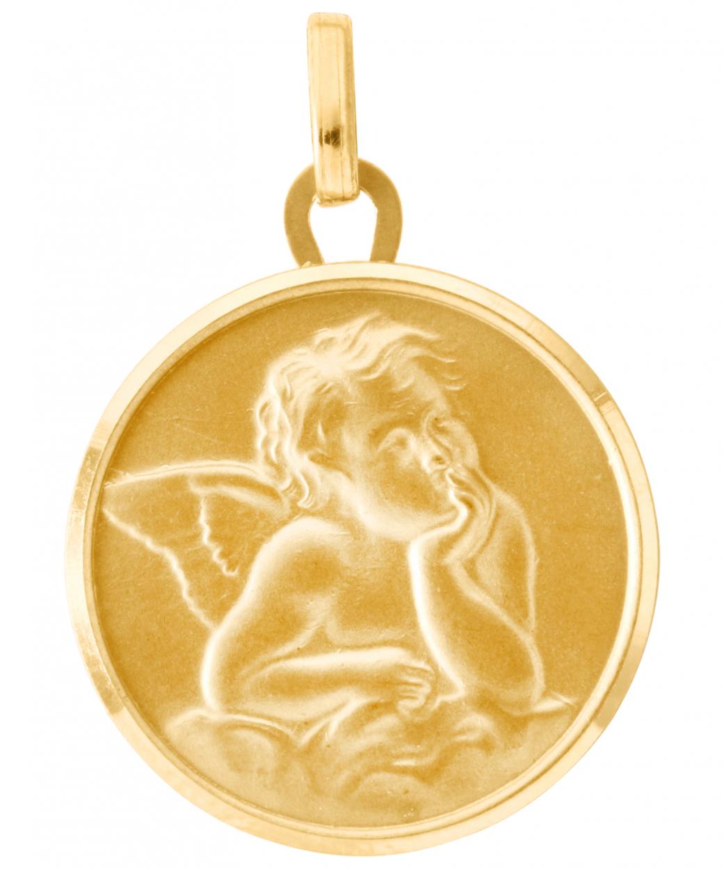 chaussures de séparation bd5b6 81b1a Médaille baptême ange en Or jaune 750 (18mm) Ref. 20006   Bijouterie  Trabbia Vuillermoz