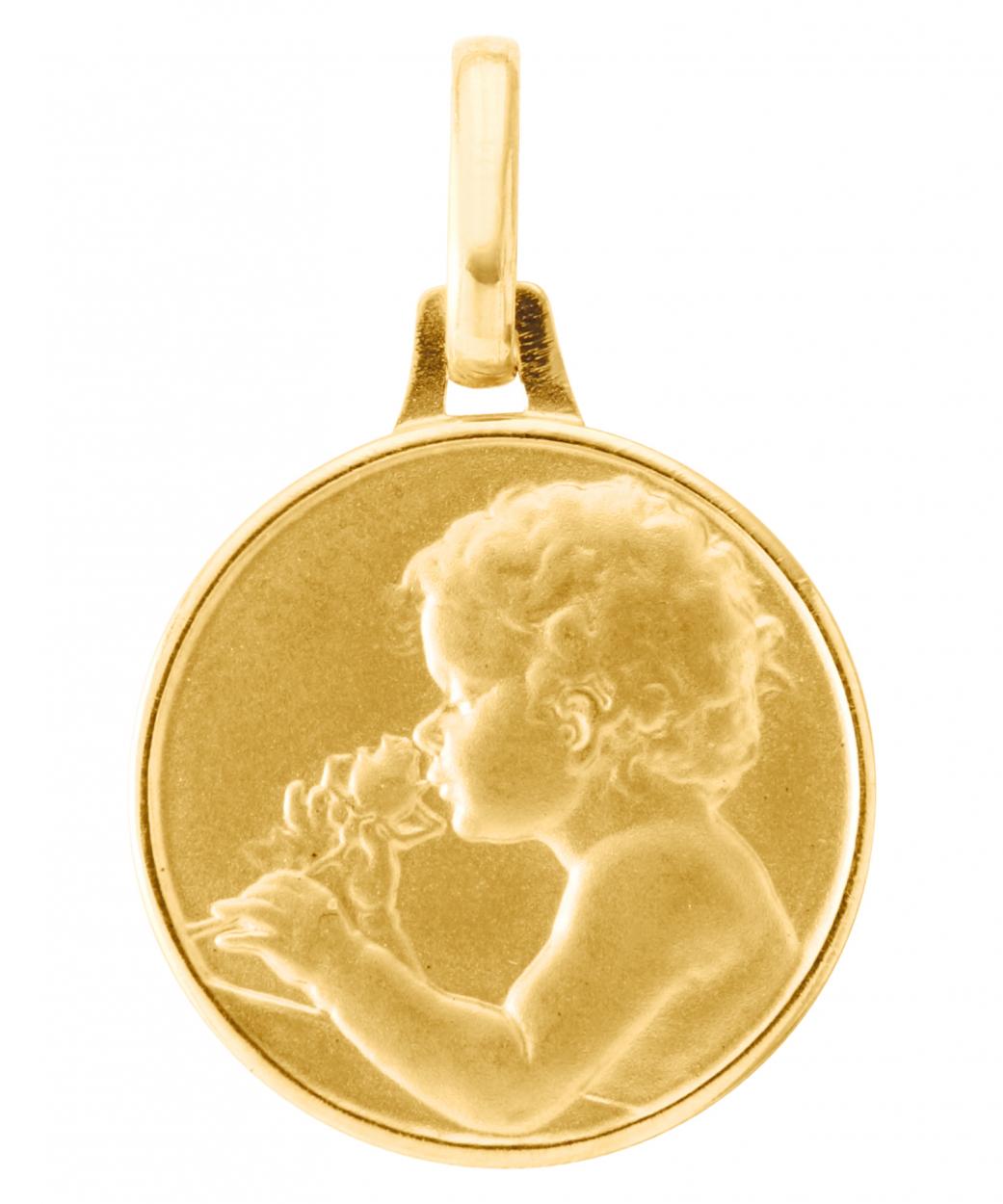 Fabuleux Médaille Or Jaune 750 Enfant à la rose 16mm Ref. 40445 ZV37