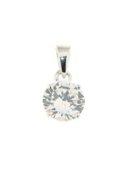 Pendentif collier bijoux avec Oxyde de Zirconium Blanc Solitaire rond argent 925
