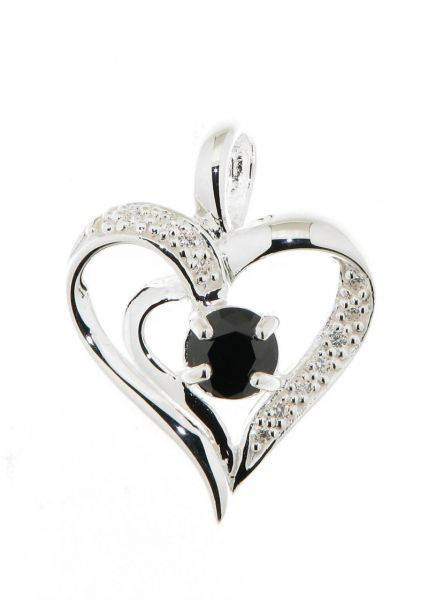 pendentif coeur argent oxyde de zirconium noir et blanc ref 37405. Black Bedroom Furniture Sets. Home Design Ideas