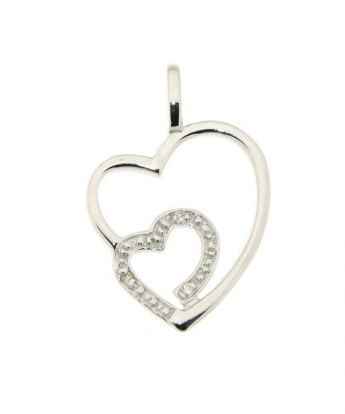 pendentif coeur or blanc diamant ref 34141. Black Bedroom Furniture Sets. Home Design Ideas