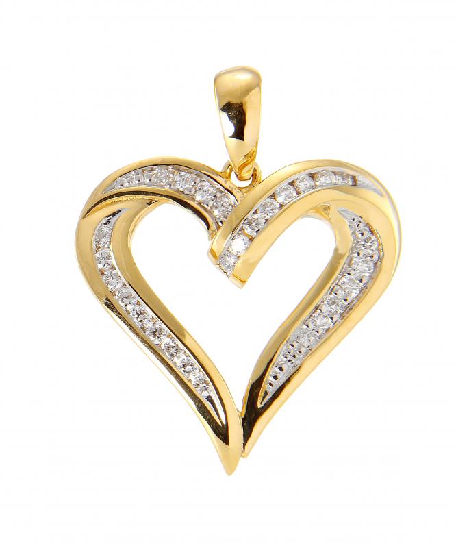 a8d78dd27f2 Pendentif Coeur Or Jaune 750 2 tons et Diamant Ref. 44721