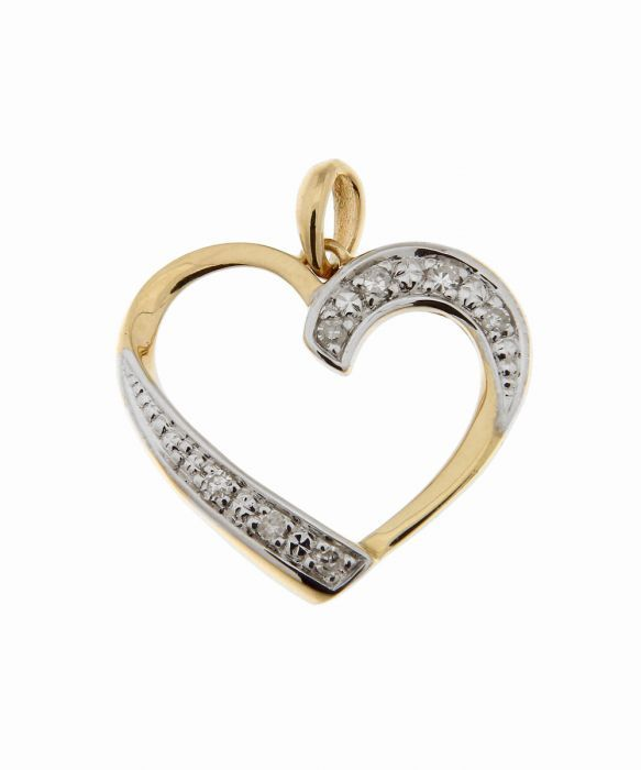 pendentif coeur or jaune 750 diamant carat ref 39813. Black Bedroom Furniture Sets. Home Design Ideas