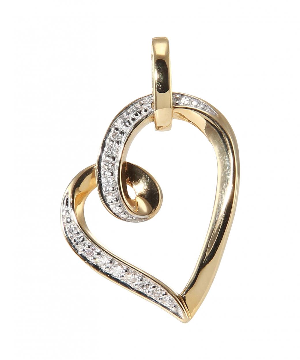 pendentif coeur or jaune 750 diamant carat ref 39801. Black Bedroom Furniture Sets. Home Design Ideas