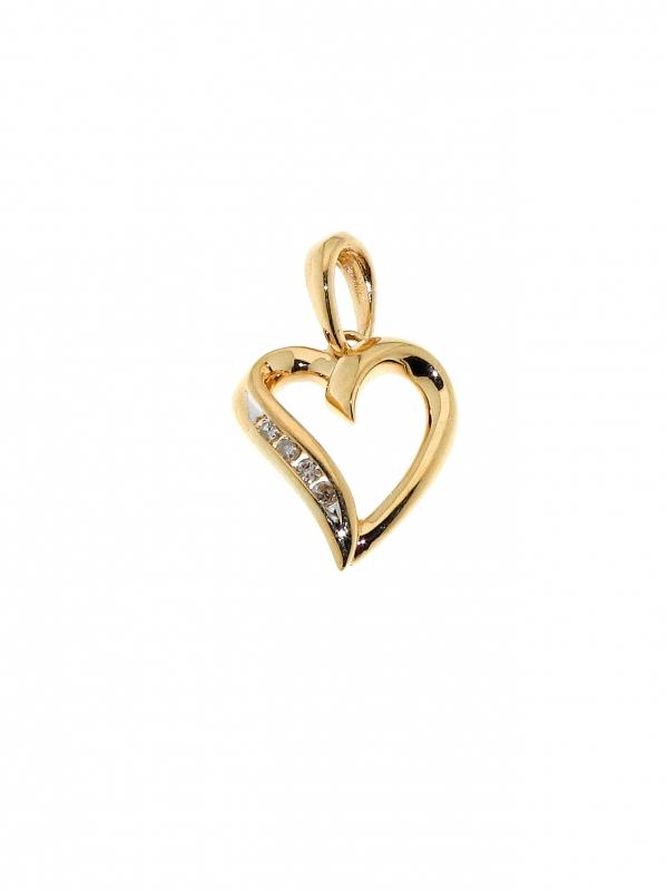pendentif coeur or jaune diamant carat ref 28727. Black Bedroom Furniture Sets. Home Design Ideas