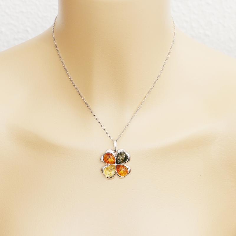 Pendentif Fleur Ambre Multicolore et Argent 925 Ref. 42425